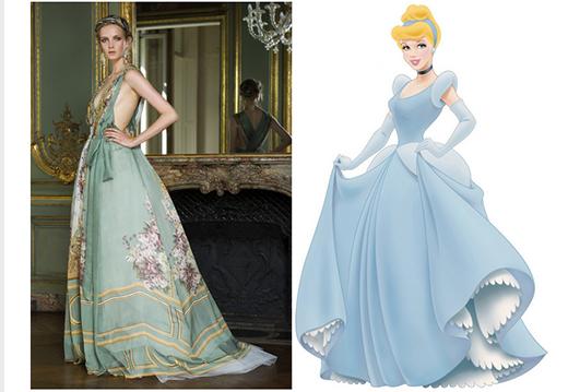 Hình ảnh của nàng công chúa Lọ Lem luôn gắn liền với chiếc đầm phồng to, xòe rộng. Thiết kế đầm xanh in hoa với phần chít eo bằng vải tuyn của NTK 65 tuổi đã làm gợi nhớ đến nàng công chúa Lọ Lem đáng yêu, kiều diễm.