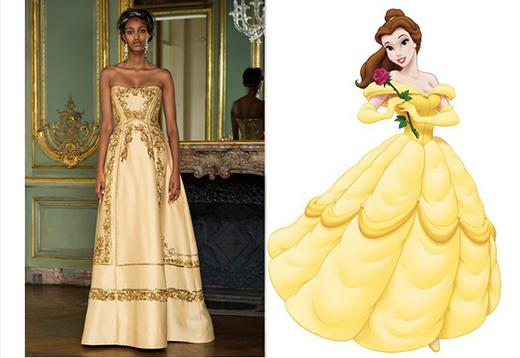 Hình tượng của nàng công chúa Belle được làm sống lại trong bộ váy xòe cúp ngực với gam màu hổ phách cùng những họa tiết trang trí ánh kim nổi bật.