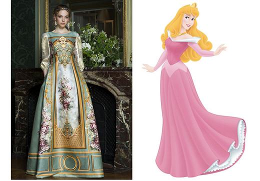 Dường như nàng công chúa ngủ trong rừng Aurora đã choàng tỉnh giấc trong chiếc đầm tay dài in hoa trên nền chất liệu satin truyền thống.