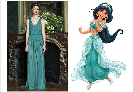 Màu xanh mỏ két cùng chất liệu vải mềm mại đã tạo ra một công chúa Jasmine giữa đời thực dưới bàn tay tài hoa của NTK Alberta Ferretti.