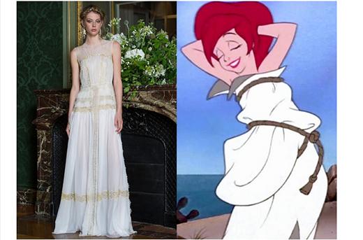 Bộ váy trắng thoáng mát thực hiện trên nền chất liệu vải tuyn mềm mại kết hợp chất liệu xuyên thấu gợi nhớ đến nàng tiên cá bé nhỏ.