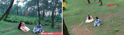 Trong một cảnh quay có thể thấy đằng sau Hoa Thiên Cốt là đám cây rậm rạp nhưng sau đó cây cối biến mất một cách khó hiểu.