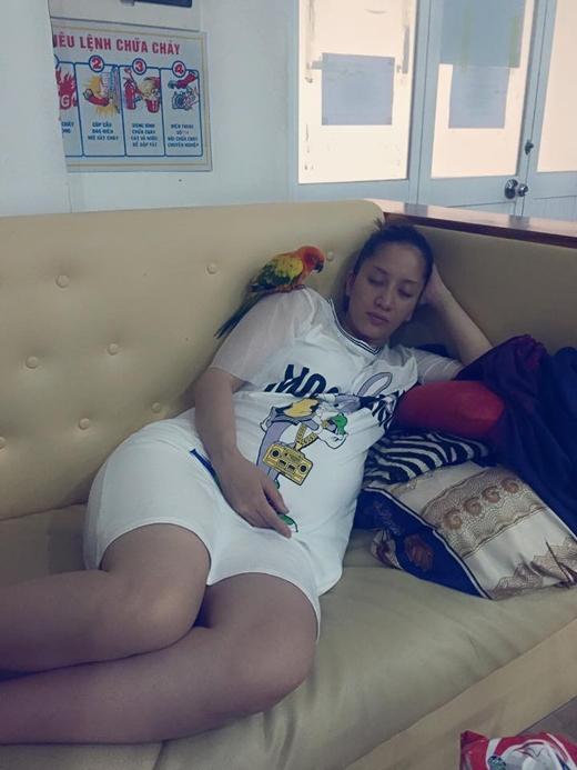 Kiện tướng Dancesport Khánh Thi đã tranh thủ chợp mắt để nghỉ ngơi, và cùng với đó thì chú vẹt của cô cũng đã ngủ theo chủ. Đây được xem như là khoảng thời gian quan trọng nhất với cô và gia đình khi ngày lâm bồn của cô cũng gần sắp đến.