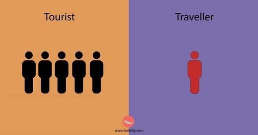 Khách du lịch đi theo nhóm nhiều người. Phượt thủ thích tận hưởng chuyến đi một mình.