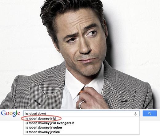 Robert Downey Jr. cũng dính phải tình trạng tương tự khi kết quả gợi ý cho rằng anh là người lưỡng tính.