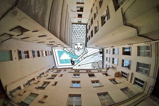 Người ta có thể sáng tạo nghệ thuật ở bất cứ đâu, dù là ở khoảng không giữa những tòa nhà chọc trời.