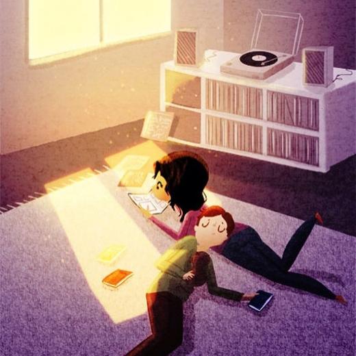 Hay cùng em nằm thư giãn đọc sách, bên cạnh là con thú cưng của chúng mình...