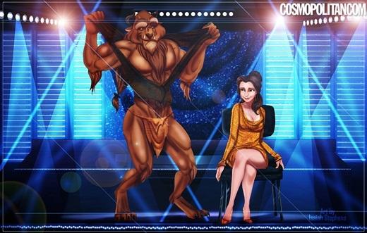 Bắt chước các quái thú 2PM, Quái vật cũng xé áo để khoe thân hình với Belle.