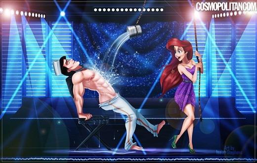 Ariel thì lại vô tình đánh đổ xô nước lên người hoàng tử nhưng có vẻ hoàng tử rất thích thú với điều này. Nhưng sao hoàng tử chỉ mặc quần... nửa mông thế kia?