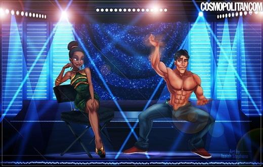 Hoàng tử Naveen có vẻ rất thích thú với việc nhảy múa trước mặt công chúa Tiana.