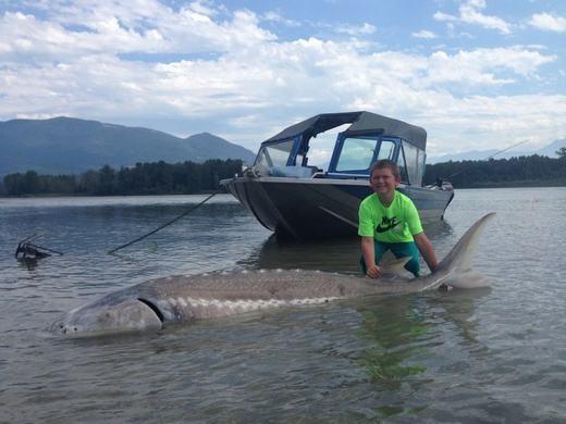 """Cậu bé rất vui trước """"chiến lợi phẩm"""" vừa có được của mình. Con cá đã được đưa lên bờ, tất nhiên là nó vẫn còn sống. Hiện vẫn chưa rõ đây là loài cá gì."""