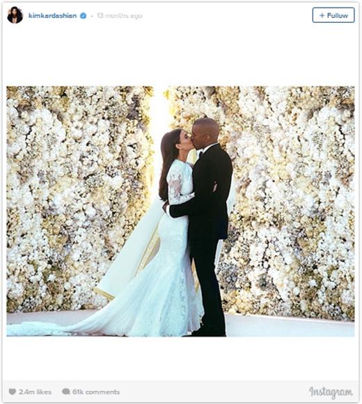 Vào 27/5/2015, cặp đôi đình đám của showbiz Kim và Kanye West đã khiến Instagram gần như nổ tung với bức ảnh chụp trong lễ cưới của mình. Kim đã chính thức đánh bại Justin một cách cực kì nhẹ nhàng, và bức ảnh này trở thành hình ảnh được nhiều lượt thích nhất từ trước đến nay trên Instagram.