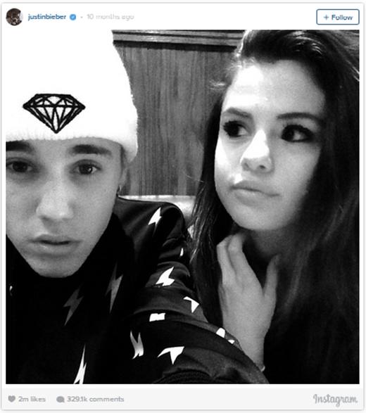 Không lâu sau, vào 17/8/2014, mối quan hệ hợp-tan của Selena và Justin lại khiến cộng đồng mạng dậy sóng một lần nữa khi bức ảnh mà Justin đăng tải trên trang cá nhân nhận được 2 triệu lượt thích. Nhưng đáng tiếc vẫn chưa đủ để đánh bại bức ảnh lễ thành hôn của Kim.