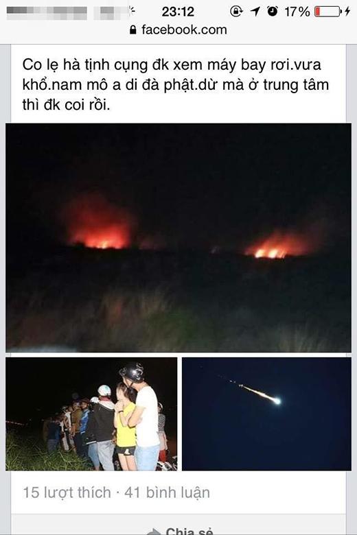Ngay sau khi vụ việc xảy ra, nhiều người trên cộng đồng mạng cho rằng đây là sự cố máy bay, tuy nhiên đó là thông tin chưa chính xác.