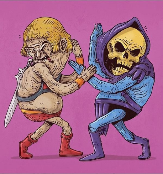 """Anh chàng He-Man không còn cơ bắp khỏe mạnh nhưng vẫn tự tin """"so găng"""" với Dr. Doom."""