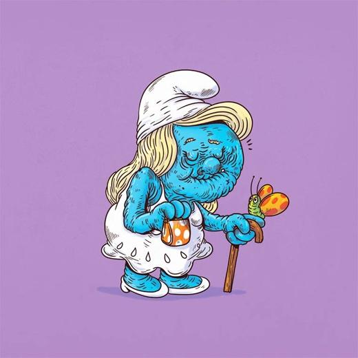 Thời gian đã lấy đi vẻ đẹp của cô xì trum Smurffette.