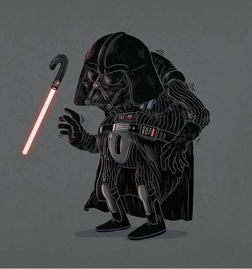 Chúa tể Darth Vader đã có dấu hiệu của bệnh già, tay chân run lẩy bẩy.