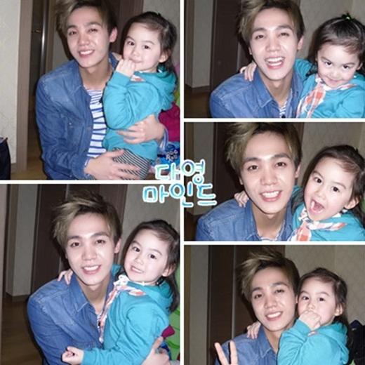 Da Young trong chương trình Hello Baby cùng nhóm nhạc MBLAQ.