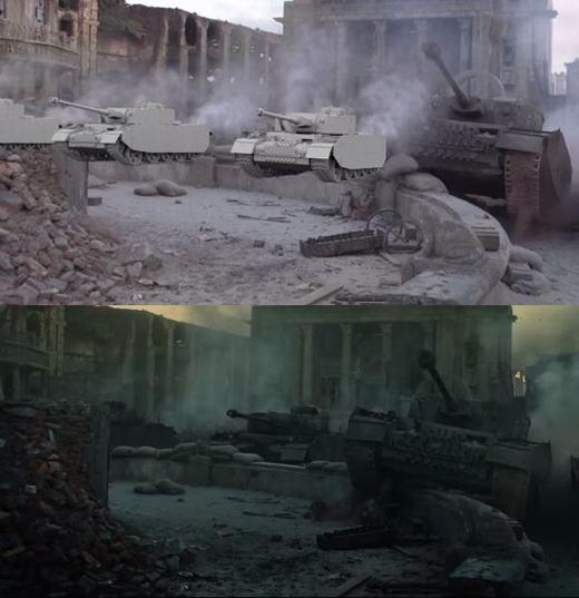 Cảnh quay này kết hợp giữa một chiếc xe tăng thật và các mô hình xe tăng giả.