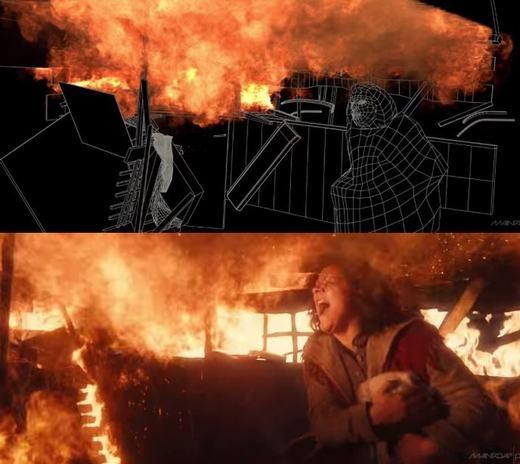 Trong đoạn phim này, người phụ nữ đứng giữa biển lửa nhưng hiệu ứng lửa lại được tạo ra bởi phần mềm.