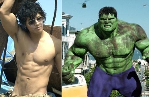 """Có lẽ không ai có thể sắm vai người khổng lồ xanh Hulk phù hợp hơn """"người năng lực"""" Kim Jong Kook bởi thân hình vạm vỡ, rắn chắc."""