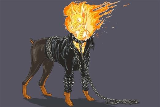 """Chú chó Doberman """"bốc lửa"""" trong nhân vật Ghost Rider"""