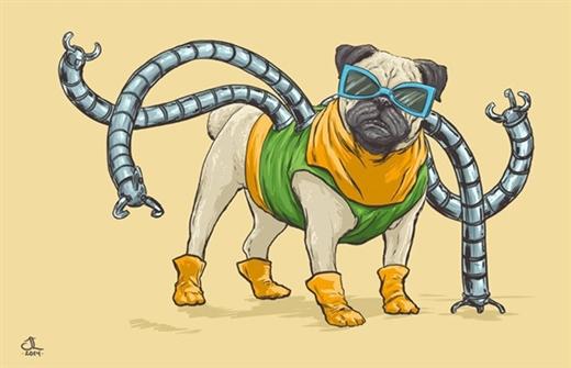 """""""Tiến sĩ"""" Bạch tuộc (Dr. Octopus) phiên bản chó Pug dễ thương"""
