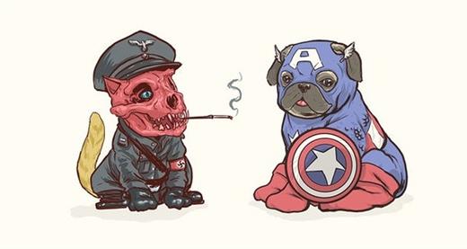 Cuộc gặp mặt hiếm thấy giữa Red Skull và Captain America (chó Pug)