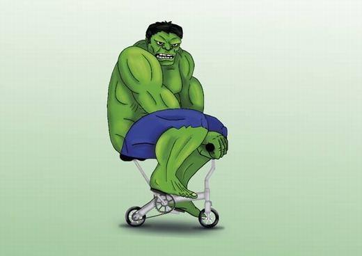 Hulk với thân hình ngoại cỡ, không hề phù hợp với bất kì chiếc xe đạp nào.