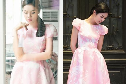 Sắc hồng pastel ngọt ngào mang đến sự nhẹ nhàng, thanh thoát cho Dương Cẩm Lynh và hoa hậu Ngọc Hân.