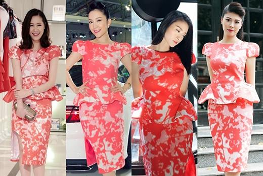 Phom váy peplum đã được làm mới bởi những đường gấp nếp, tạo khối khá độc đáo. Những họa tiết in độc bản cùng sắc đỏ hồng nổi bật càng làm tăng thêm sức hút cho mẫu thiết kế mang đậm tinh thần cổ điển này.