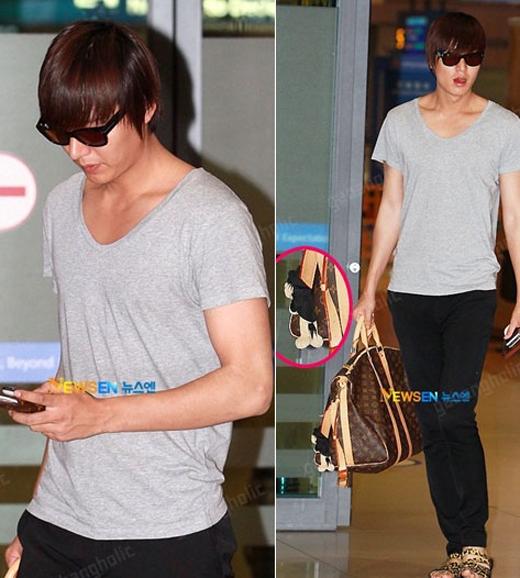 Lee Min Ho với chiếc túi du lịch của Louis Vuitton trị giá khoảng 31 triệu đồng.