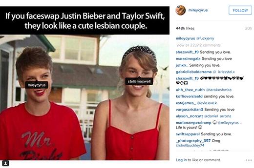 Justin Bieber và Taylor Swift bị ví như một cặp đồng tính nữ đáng yêu