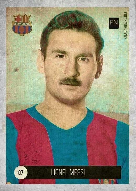 Lionel Messi tỏ ra già dặn với mái tóc bồng bềnh và hàng ria con kiến rậm rạp.