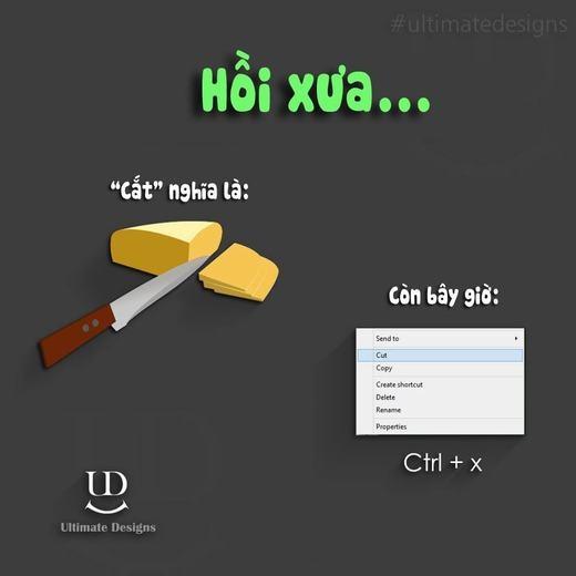Với nhiều bạn hiện nay, cắt đồng nghĩa với những thao tác trên máy tính như cắt một đoạn văn bản, một hình ảnh... Nhưng với ba mẹ, đó là hành động dùng dao, kéo để làm đứt một thứ gì đó.
