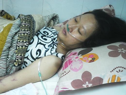 Chị Huệ đang nằm điều trị bệnh tại Bệnh việnruyền máu Huyết học TP HCM