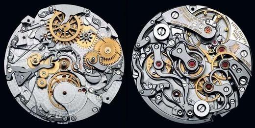 Mặt trong của một chiếc đồng hồ làm hoàn toàn bằng thủ công.