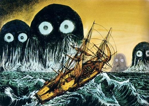 Umibozu là linh hồn sống ở dưới đại dương và thường nhấn chìm những chiếc tàu thuyền cả gan... nói chuyện với nó. Được miêu tả với vẻ ngoài đáng sợ với thân hình khổng lồ, chiếc đầu tròn và làn da màu đen cùng với thân hình giống đám mây, tay chân dài như vòi bạch tuộc. Theo truyền thuyết Nhật Bản, những người chết đi mà không được ai hương quả phần mộ của mình thì linh hồn của họ sẽ tìm về biển để nương náu và biến thành Umibozu.