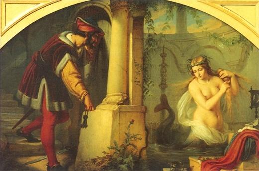 Trong truyền thuyết Châu Âu, Melusine là con gái của nàng tiên Pressyne và Đức vua Elynas của nước Albany. Nàng có một cuộc sống gia đình hạnh phúc trước khi chồng của Melusine phát hiện ra vợ mình có phần thân dưới của cá hoặc rắn với hai cái đuôi chĩa sang hai bên. Nàng đã bị chồng bỏ ngay sau đó. Người dân kể lại rằng, từ đó, mỗi khi những đứa con của họ chết đi hay có hậu duệ mới ra đời, Melusine đều xuất hiện và than khóc ở bên ngoài lâu đài.