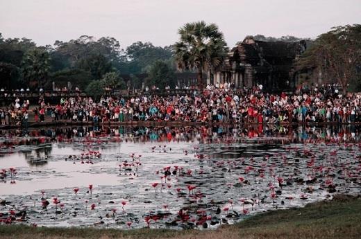Một lượng du khách khổng lồ chen chúc nhau ở khu quần thể Angkor Wat.