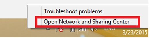 Nếu cách 1 không được, ta chuyển qua cách đặt IP tĩnh cho máy. Đầu tiên bạn nhấp phải chuột vào biểu tượng mạng, chọnOpen Network And Sharing Center.