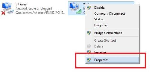 Ấn vào mạng Wi-Fi đã kết nối, chọn Properties.