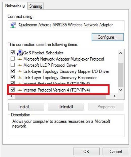 Tìm đến Internet Protocol Version 4 (TCP/IPv4) và nhấp đúp.