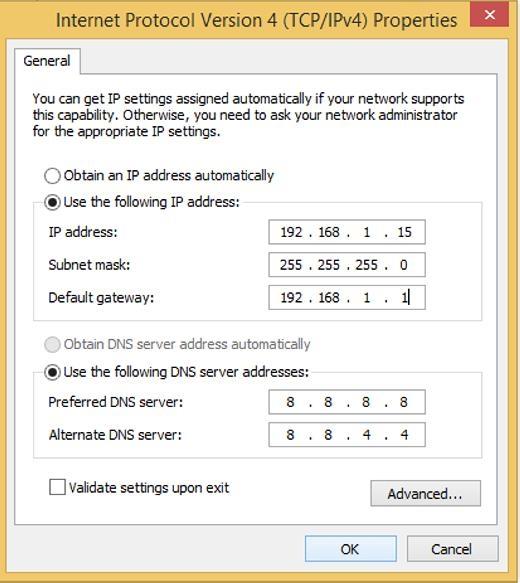 Ở phần Use the folowingIP address, bạnđiền các thông số phù hợp.