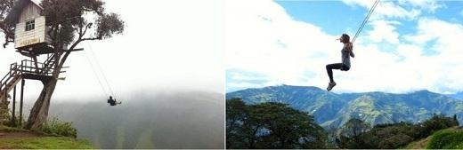 Sâu trong vùng rừng núi hoang dã của Ecuador là một ngôi nhà trên cây được sử dụng để thưởng ngoạn núi lửa Tungurahua tráng lệ. Tại đây còn mắc thêm một chiếc xích đu lơ lửng giữa độ cao 792m so với mực nước biển.