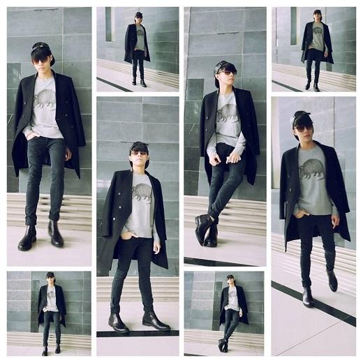 Trang phục tông đen chủ đạo được trau chuốt bởi áo sweatshirt, quần chinos quen thuộc. Nam ca sĩ kết hợp đầy tinh tế với áo khoác dạ kiểu cách.