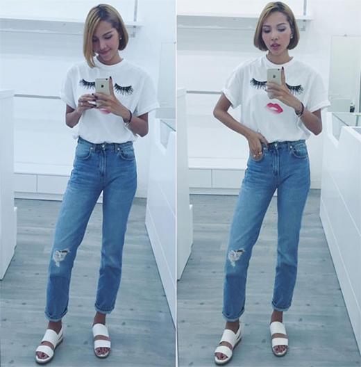 Minh Triệu năng động, chỉn chu kết hợp áo phông họa tiết cùng quần jeans bó sát.