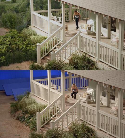 Một ngôi nhà đầy rẫy cây cối xung quanh, nhưng đó chỉ là ảo ảnh do đạo diễn tạo ra.