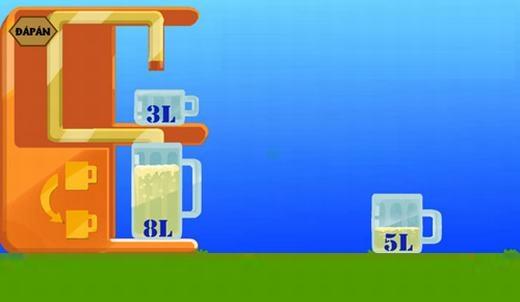 Câu 13:Có 3 cốc 8 lít, 5 lít và 3 lít, cốc 8 lít đựng đầy nước, hãy rót ra 4 lít nước trong 10 lần rót.