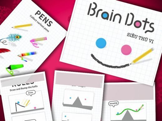 """Brain Dots là trò chơi """"gây nghiện"""" cao, sức hấp dẫn của nó đến từ ý tưởng """"kết duyên"""" cho 2 chấm xanh và hồng. Như vậy, bạn đã là """"ông Tơ bà Nguyệt"""" trong trò chơi này rồi!"""